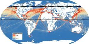 geografia - densitat trànsit marítim mundial